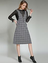 Недорогие -Жен. На выход Уличный стиль Рубашка Платья Шахматка V-образный вырез
