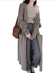 Недорогие -Жен. Длинный рукав Свободный силуэт Длинный Кардиган - Однотонный V-образный вырез
