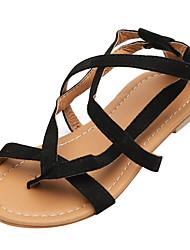 baratos -Mulheres Sapatos Camurça Verão Conforto Sandálias Sem Salto Dedo Aberto Preto / Marron
