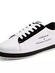 Недорогие -Муж. Комфортная обувь Полиуретан Осень Кеды Контрастных цветов Черно-белый / Черный / Красный / Черный / зеленый