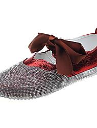 povoljno -Žene Cipele PU Ljeto Udobne cipele Ravne cipele Ravna potpetica Okrugli Toe Mašnica Crn / Crvena