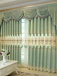 お買い得  -遮光 カーテンドレープ 2パネル 2*(W140cm×L259cm) グリーン / 刺繍 / ベッドルーム