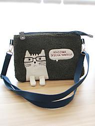 cheap -Women's Bags Canvas Mobile Phone Bag Zipper Green / Gray
