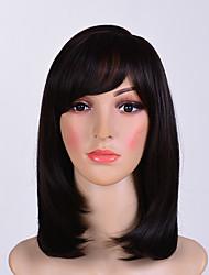 abordables -Pelucas sintéticas Recto Parte lateral Pelo sintético 12 pulgada Mujer / Con golpes Negro Peluca Mujer Longitud Media Sin Tapa