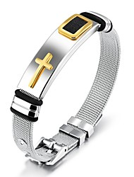 cheap -Men's Classic / Stylish Chain Bracelet / Bracelet Bangles / Cuff Bracelet - 18K Gold Plated, Stainless Cross, Creative Statement, Fashion, Elegant Bracelet Gold / Black For Daily / Office & Career