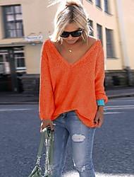 Недорогие -Жен. Большие размеры Длинный рукав Пуловер - Однотонный V-образный вырез
