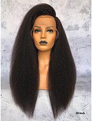 Недорогие -Необработанные Лента спереди Парик Бразильские волосы Прямой Парик Глубокое разделение 150% Лучшее качество / Удобный Нейтральный / Черный Жен. Длинные Парики из натуральных волос на кружевной основе