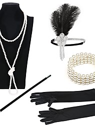 abordables -Gatsby le magnifique Années 20 Costume Femme Bandeau Garçonne Coiffure Bracelets Vintage Collier de perles Noir / Or + Noir / Noir / Blanc Vintage Cosplay Imitation de perle Plume Déguisement