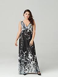 זול -כתפיה מקסי שכבות, משובץ דמקה - שמלה סווינג כותנה מידות גדולות בוהו חגים בגדי ריקוד נשים
