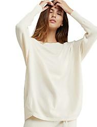 baratos -saia de manga comprida para mulher - decote redondo em cor sólida