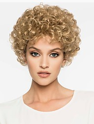 cheap -Synthetic Wig Curly Golden Pixie Cut Synthetic Hair 6 inch Synthetic Golden Wig Women's Short Capless Light golden