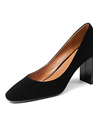 povoljno -Žene Cipele Ovčja koža Proljeće Udobne cipele Cipele na petu Kockasta potpetica Crn / Crvena