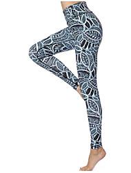 baratos -GOSOU≡R Mulheres Calças de Yoga - Verde Esportes Floral Elastano Cintura Alta Meia-calça Corrida, Fitness, Ginásio Roupas Esportivas Respirável, Secagem Rápida, Confortável Elasticidade Alta
