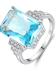 cheap -Women's Synthetic Aquamarine Cubic Zirconia Long Band Ring - Sterling Silver Vintage, Elegant 6 / 7 / 8 / 9 Light Blue For Wedding Engagement Ceremony