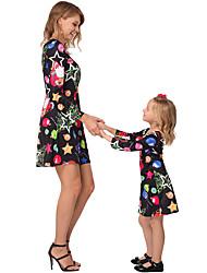 Недорогие -Мама и я Геометрический принт Без рукавов Макси Платье Черный