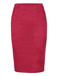 cheap -Women's Sophisticated Bodycon Skirts - Solid Colored Black & White