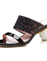 baratos -Mulheres Sapatos Sintéticos Primavera Conforto Sandálias Calcanhar Heterotípico Preto / Rosa claro