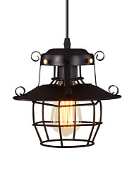 Недорогие -старинная черная металлическая клетка чердак мини-подвесные светильники гостиная столовая прихожая кафе-бары световая арматура окрашенная отделка