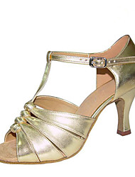 cheap -Women's Latin Shoes Satin Sandal / Heel Flared Heel Customizable Dance Shoes Gold / White / Silver