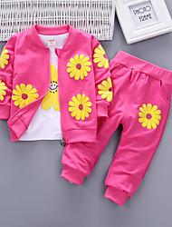 Недорогие -Дети Девочки Цветок солнца Цветочный принт Длинный рукав Набор одежды