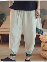 cheap -Men's Cotton / Linen Loose Wide Leg Pants - Color Block