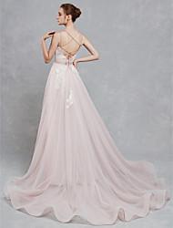 baratos -Linha A Decote Princesa Cauda Corte Renda / Tule Vestidos de casamento feitos à medida com Renda de LAN TING BRIDE® / Pretíssimos