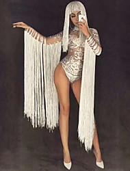 economico -Dancewear esotico Body con strass / Tute da sera / Costume da Club Per donna Prestazioni Elastene Nappa / Cristalli / Strass Manica lunga Naturale Calzamaglia / Pigiama intero