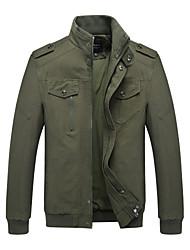 baratos -Homens Jaqueta Básico / Militar - Sólido