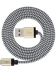 Недорогие -Подсветка Кабель >=3m / 9.8ft Плетение Нейлон Адаптер USB-кабеля Назначение iPad / Apple / iPhone