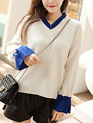 cheap -women's long sleeve pullover - color block v neck