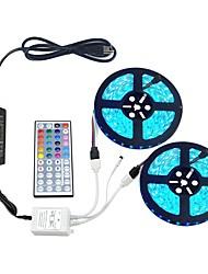 baratos -Zdm 10 m (2x5 m) s 5050 rgb smd levou conjuntos de luz 30 pçs / metro com 44key ir controlador 12 v 6a fonte de alimentação de desktop luz suave tira kit
