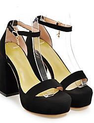 baratos -Mulheres Sapatos Couro Ecológico Verão Conforto Sandálias Salto Robusto Preto / Bege / Rosa claro