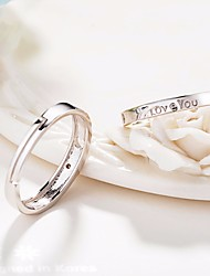 cheap -Women's AAA Cubic Zirconia Classic Stylish Ring Open Ring - Silver Plated Letter Simple, Basic, Fashion Adjustable Silver For Date Valentine