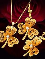 baratos -Mulheres Zircônia cúbica Conjunto de jóias - Banhado a Ouro 18K Tema Flores, Flor Asiático, Étnico Incluir Brincos em Argola / Colar vintage Dourado Para Festa de Noite / Bagels