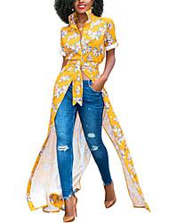 Недорогие -Жен. На выход Богемный Рубашка Платье - Цветочный принт, С разрезами С принтом Рубашечный воротник Макси Мини Тропический лист