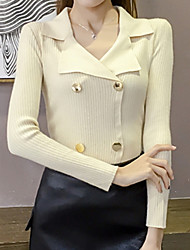 cheap -women's long sleeve cotton slim pullover - solid colored shirt collar