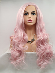 cheap -Synthetic Lace Front Wig Wavy Pink Layered Haircut 130% Density Synthetic Hair 26 inch Women / Youth Pink Wig Women's Mid Length Lace Front Pink+Red / Yes