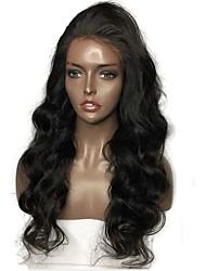 Недорогие -Натуральные волосы Лента спереди Парик Бразильские волосы Бирманские волосы Естественные кудри Природа Черный Парик 130% Плотность волос / с детскими волосами / с детскими волосами