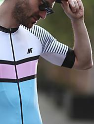 abordables -Mysenlan Homme Manches Courtes Maillot de Cyclisme - Bleu Blanc Bandes horizontales Cyclisme Maillot, Cyclisme Séchage rapide, Eté, Polyester / Fermeture YKK