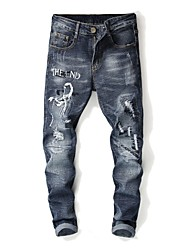 cheap -Men's Street chic Jeans Pants - Letter Blue & White, Embroidered