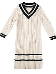 baratos -Mulheres Tricô Vestido Decote V Médio