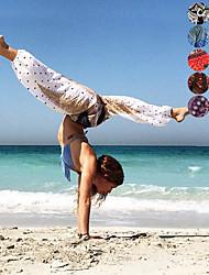 billiga -Dam Harem / Fint veckad midja Yoga byxor - Svartvit, Röd / vit, Mörk Marin sporter Tryck, Elefant, Bohemisk Hög midja underbyxor Magdans, Fitness Sportkläder Lättvikt, Andningsfunktion