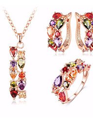 cheap -Women's Cubic Zirconia Stylish / Trace Jewelry Set - Resin Drop, Flower Stylish, Luxury, Elegant Include Hoop Earrings / Pendant Necklace / Ring Champagne For Party / Festival