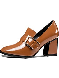 abordables -Femme Chaussures de confort Cuir Nappa Automne hiver Mocassins et Chaussons+D6148 Talon Bottier Noir / Marron / Vert