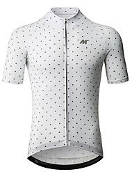 baratos -Mysenlan Homens Manga Curta Camisa para Ciclismo - Branco Moto Camisa / Roupas Para Esporte Poliéster / Zíper YKK