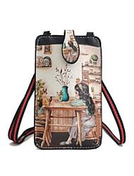 baratos -Mulheres Bolsas PU Telefone Móvel Bag Botões Preto