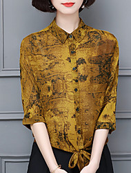 cheap -women's cotton blouse - floral shirt collar