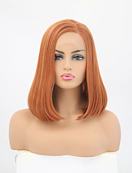 cheap -Synthetic Lace Front Wig Straight Style Side Part Lace Front Wig Brown Orange Synthetic Hair 12-14 inch Women's Adjustable / Heat Resistant / Party Brown Wig Short Natural Wigs