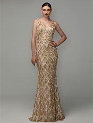 preiswerte -Eng anliegend V-Ausschnitt Boden-Länge Pailletten Formeller Abend Kleid mit Paillette / Quaste durch TS Couture®