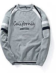 cheap -Men's Pullover - Solid Colored / Striped / Letter, Patchwork